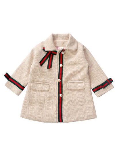 kiskissing wholesale fashion kid girl bowknot coat